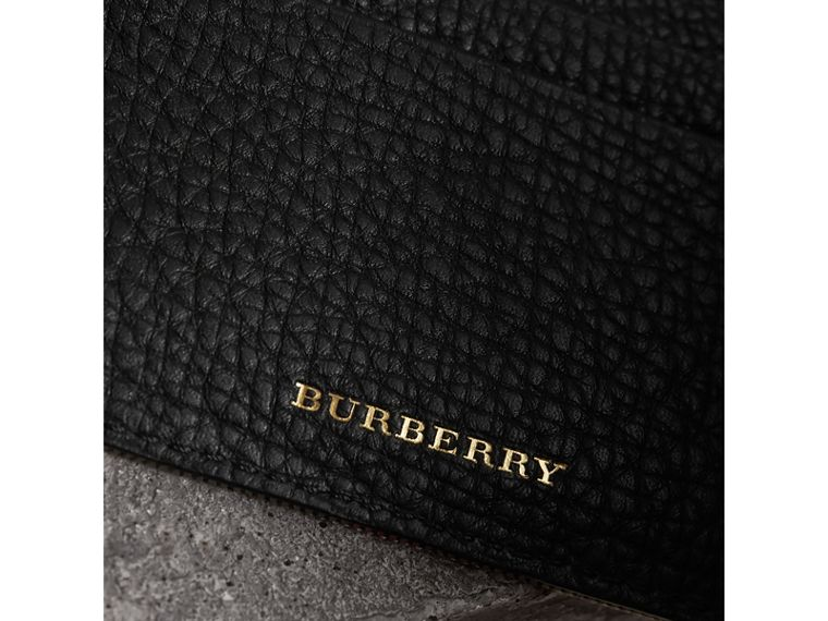 House Check and Grainy Leather Card Case in Black | Burberry Hong Kong - cell image 1