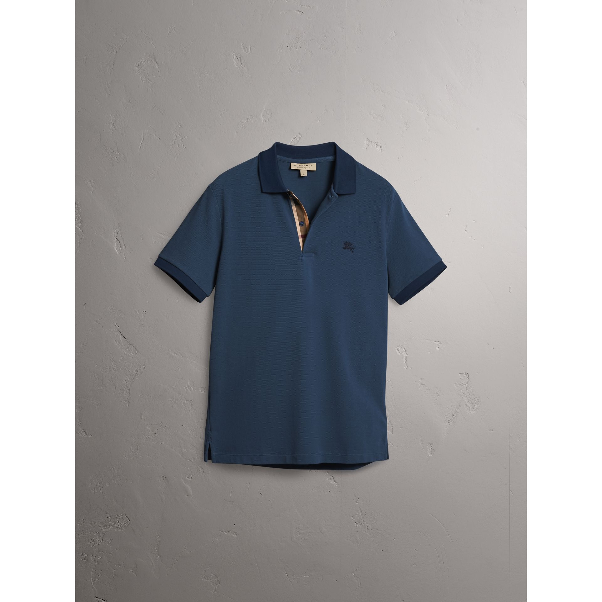 Cotton Piqué Polo Shirt in Canvas Blue - Men | Burberry - gallery image 3