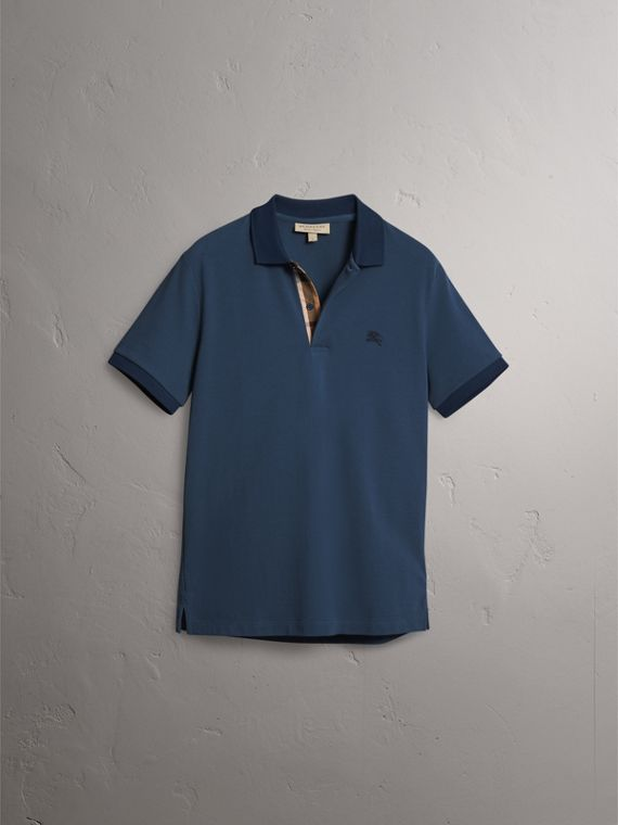 Cotton Piqué Polo Shirt in Canvas Blue - Men | Burberry - cell image 3