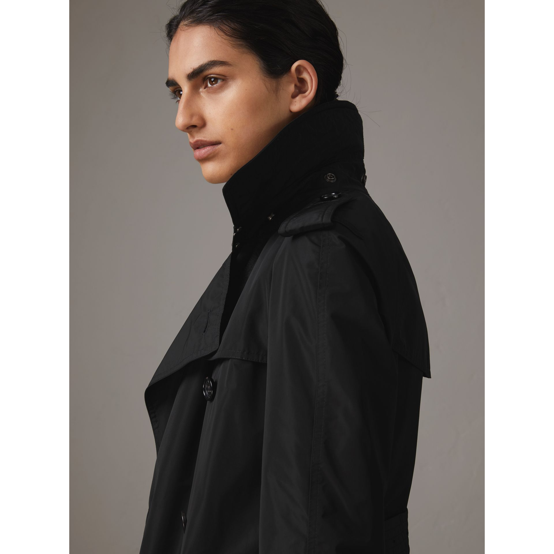 Detachable Hood Taffeta Trench Coat in Black - Women | Burberry - gallery image 1