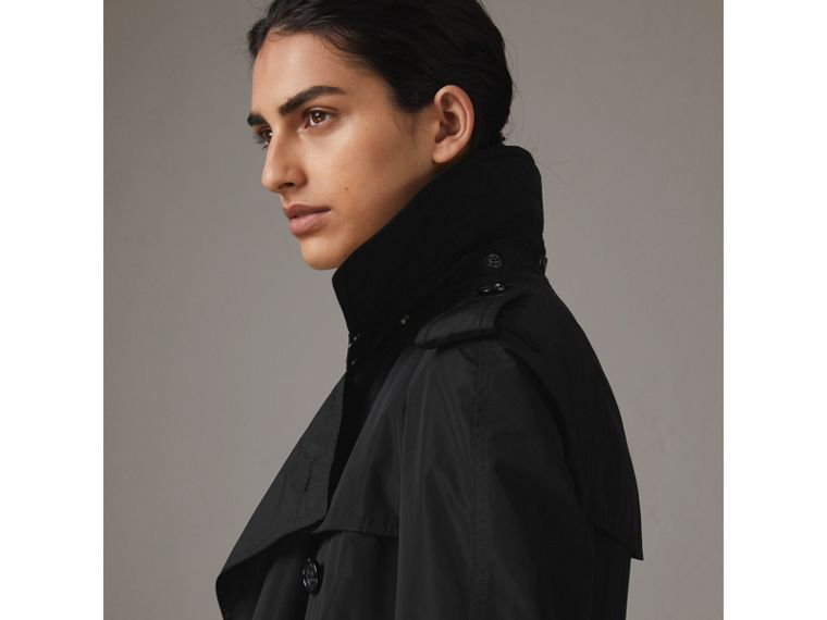 Detachable Hood Taffeta Trench Coat in Black - Women | Burberry United Kingdom - cell image 1