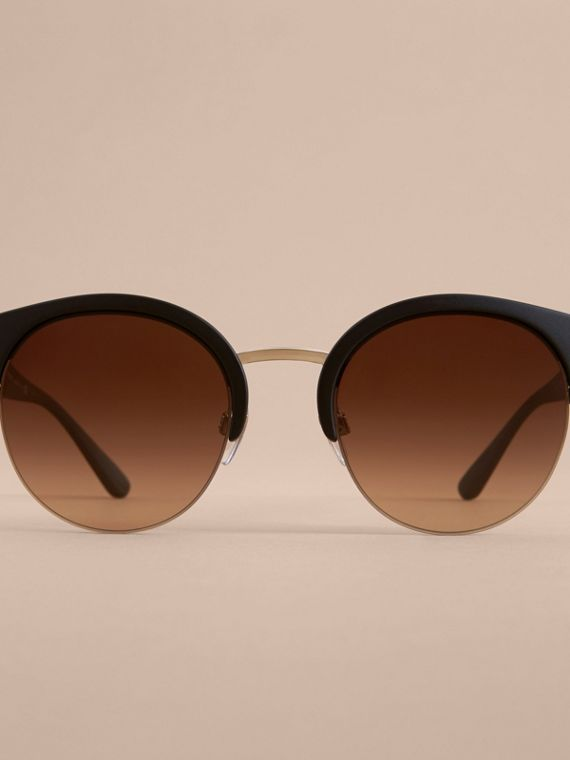 Check Detail Round Half-frame Sunglasses in Black - Women | Burberry Canada - cell image 2