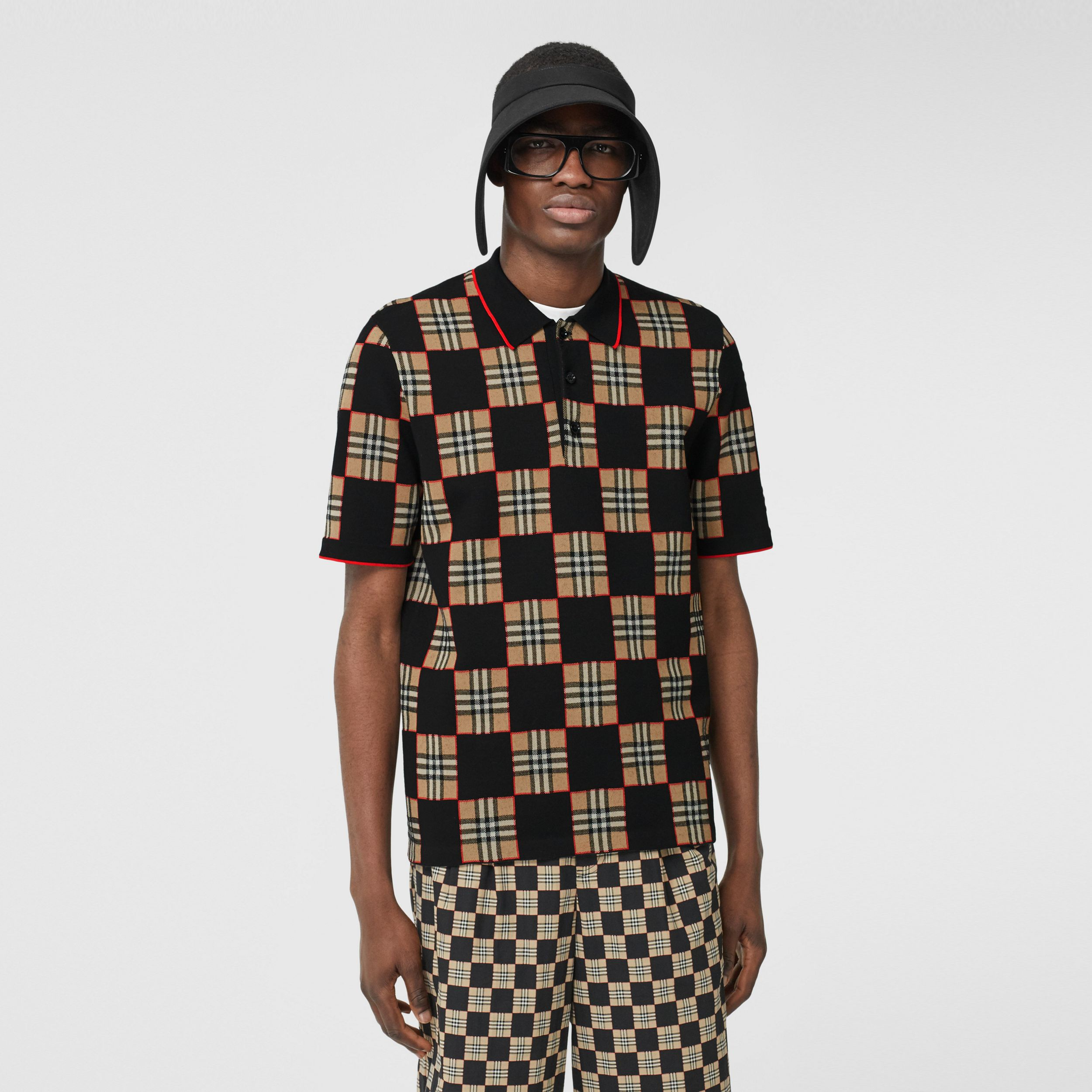 Chequer Merino Wool Blend Jacquard Polo Shirt in Archive Beige | Burberry - 1