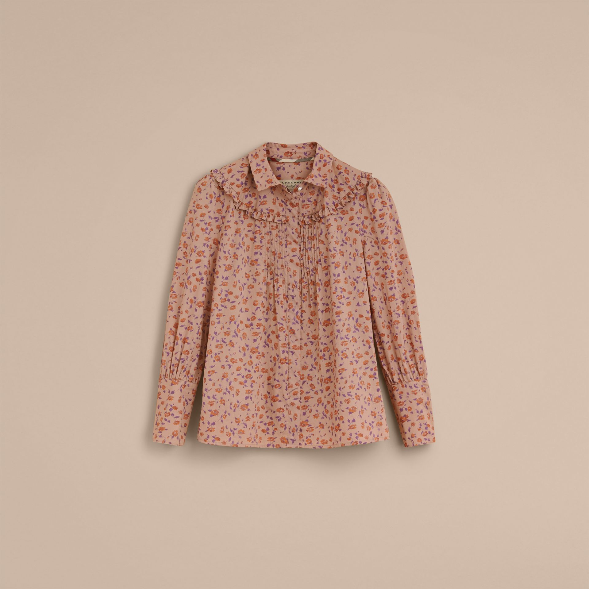 Ruffle Yoke Floral Print Cotton Shirt in Light Copper - Women | Burberry Canada - gallery image 4