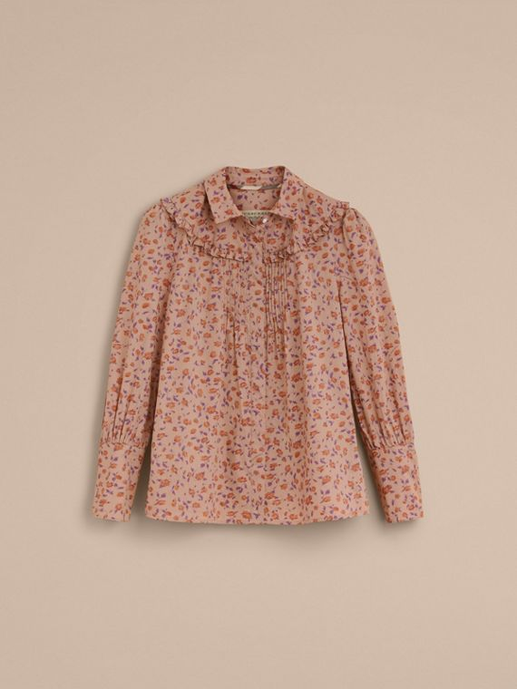 Ruffle Yoke Floral Print Cotton Shirt in Light Copper - Women | Burberry - cell image 3