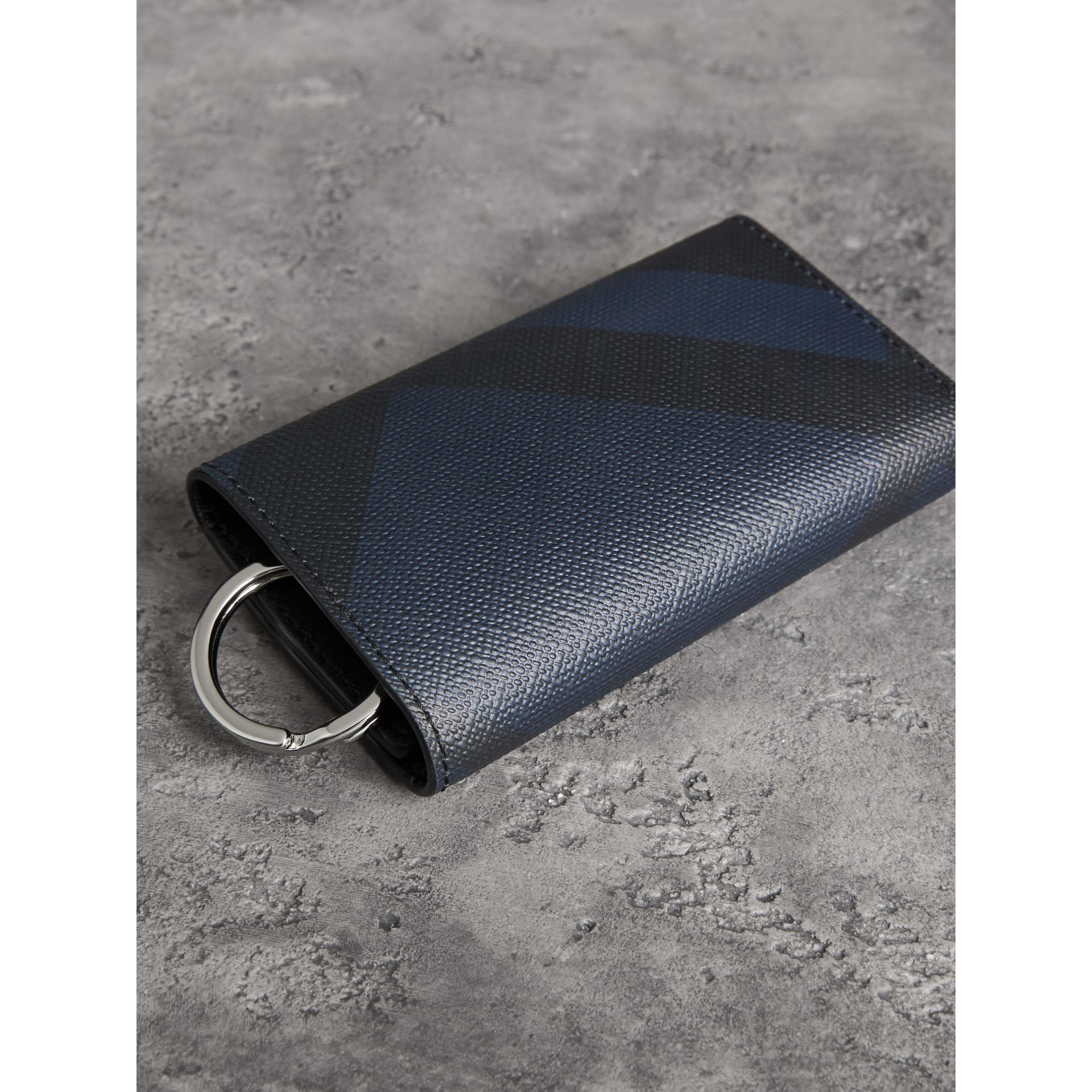 Leather Trim London Check Key Case in Navy/black - Men | Burberry Australia - gallery image 3