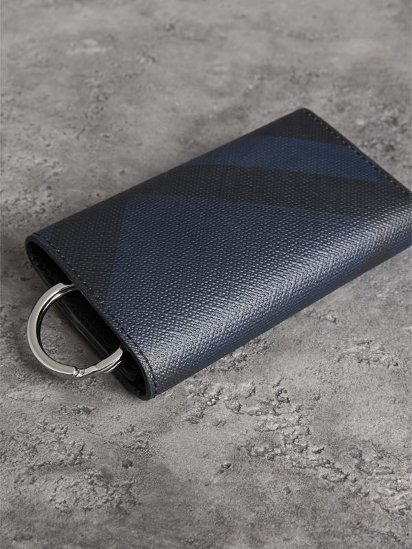 Leather Trim London Check Key Case in Navy/black - Men | Burberry - cell image 3