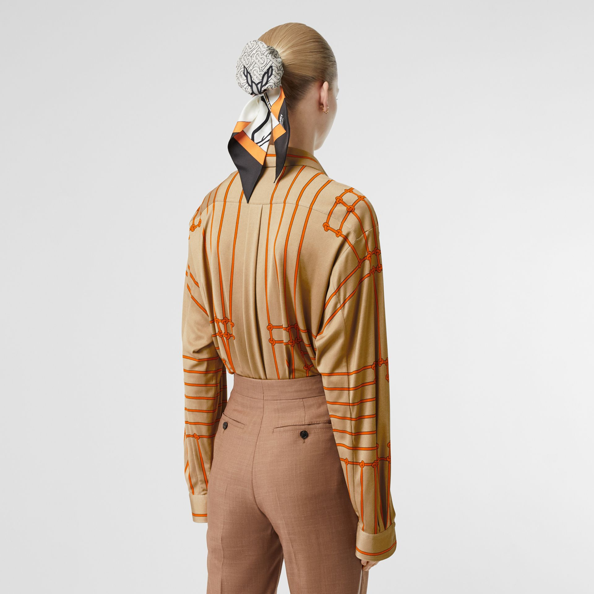 Monogram Motif Rope Print Stretch Silk Shirt in Orange - Women | Burberry - gallery image 2