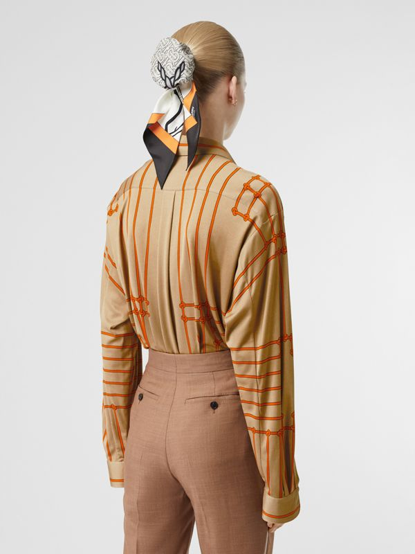 Monogram Motif Rope Print Stretch Silk Shirt in Orange - Women | Burberry - cell image 2