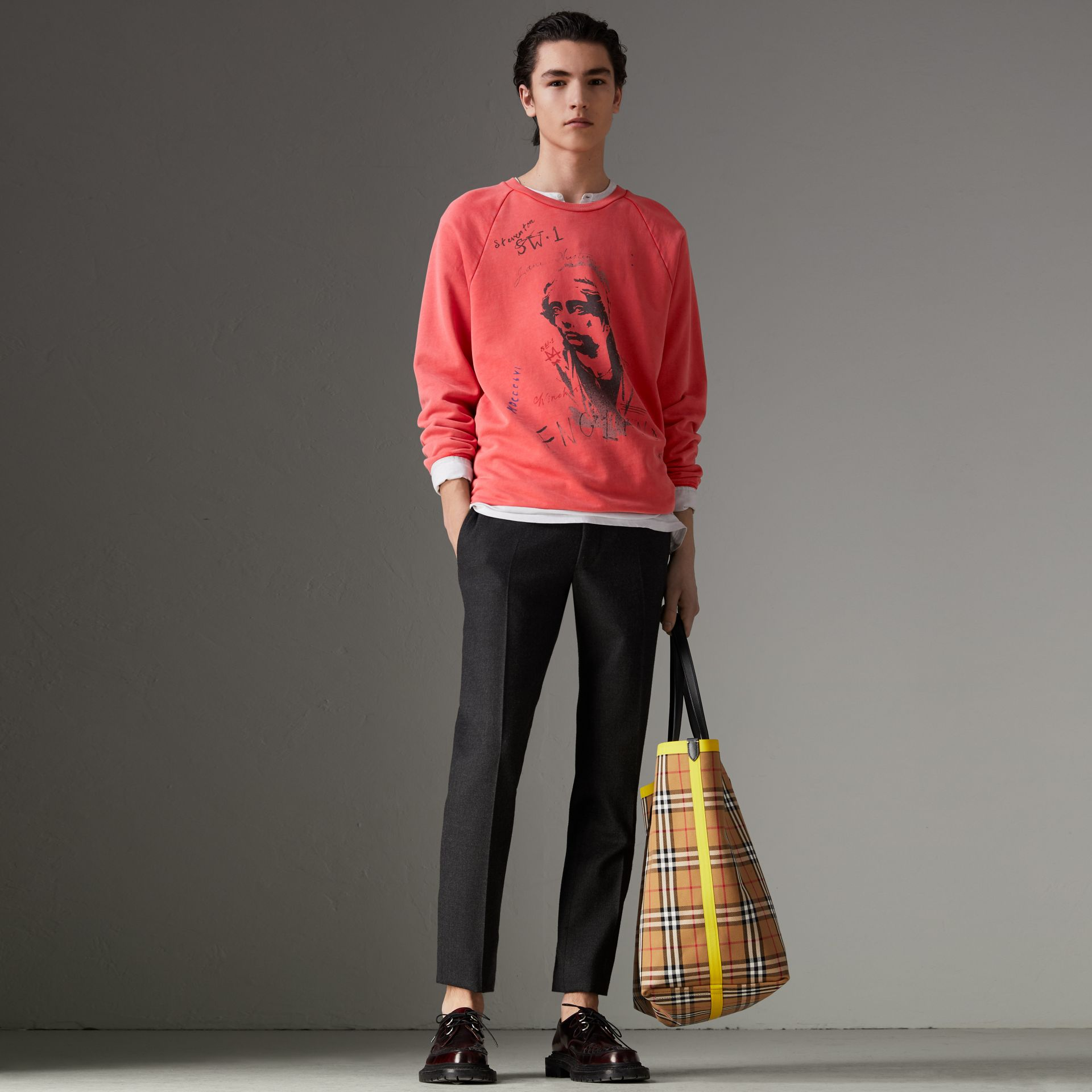 Portrait Print Cotton Sweatshirt in Bright Military Red - Men | Burberry - gallery image 4