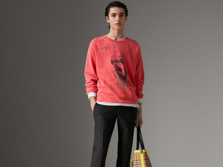Portrait Print Cotton Sweatshirt in Bright Military Red - Men | Burberry - cell image 4