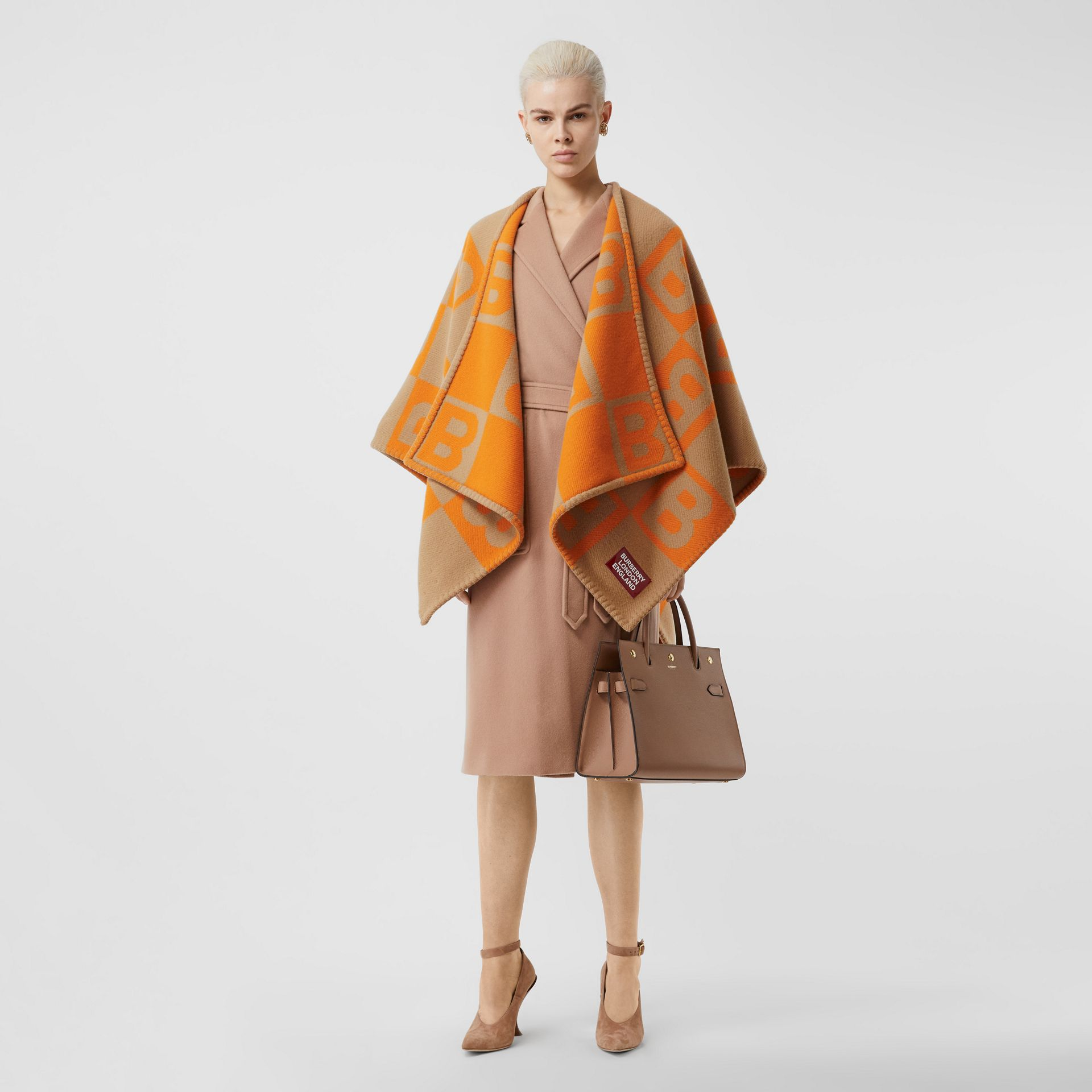 B Motif Merino Wool Cashmere Cape in Orange - Women | Burberry - gallery image 0