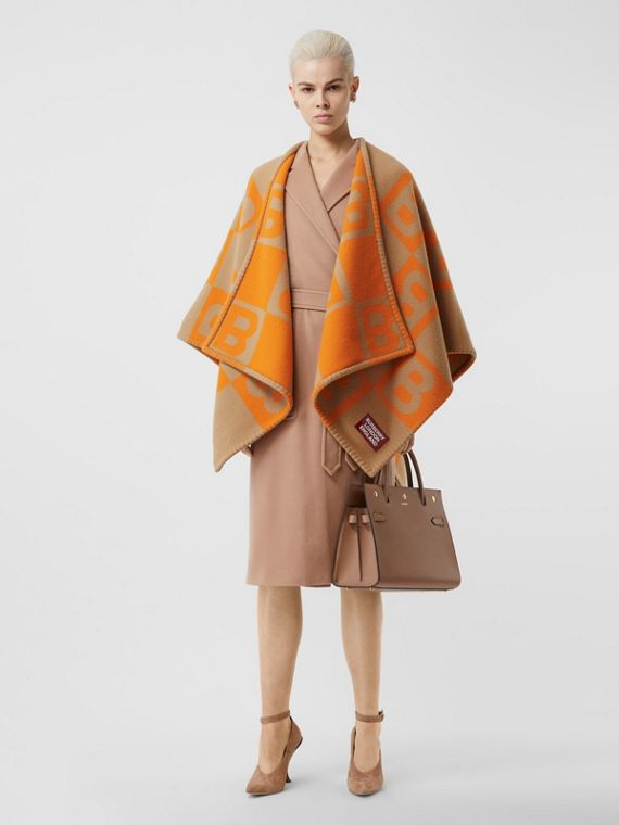B Motif Merino Wool Cashmere Cape in Orange