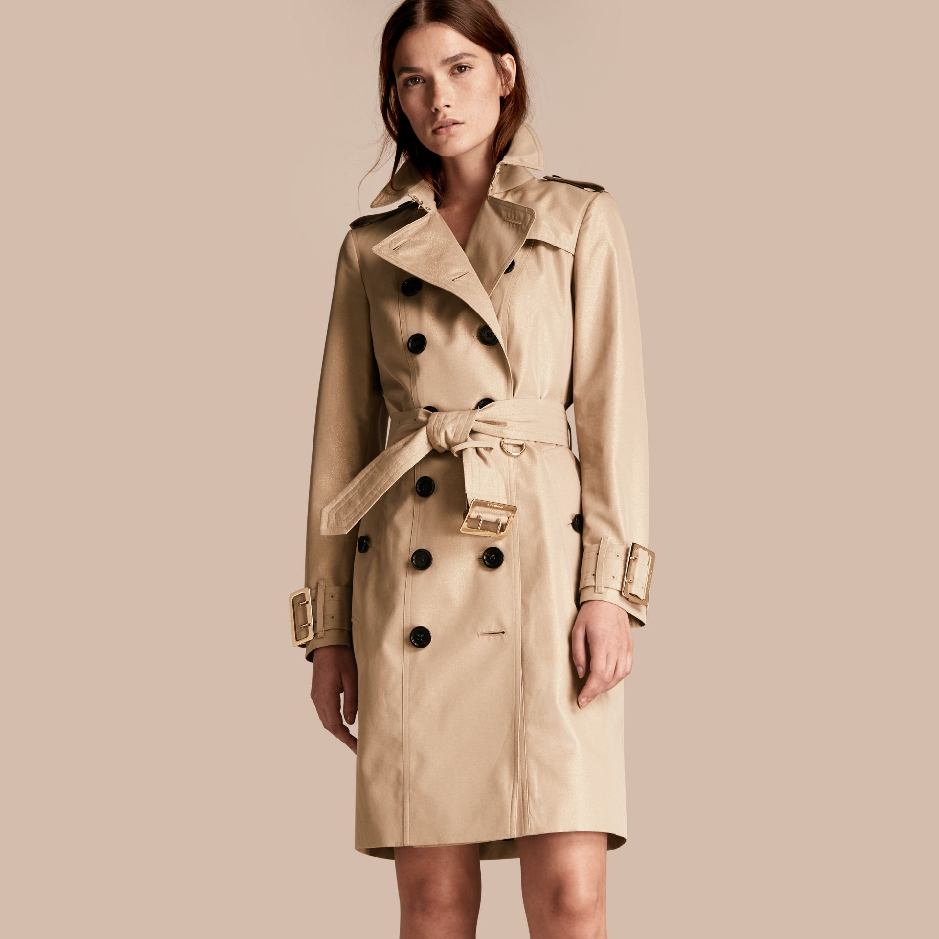 Nude gold Metallic Cotton Gabardine Trench Coat with Oversize Buckle Detail - gallery image 1