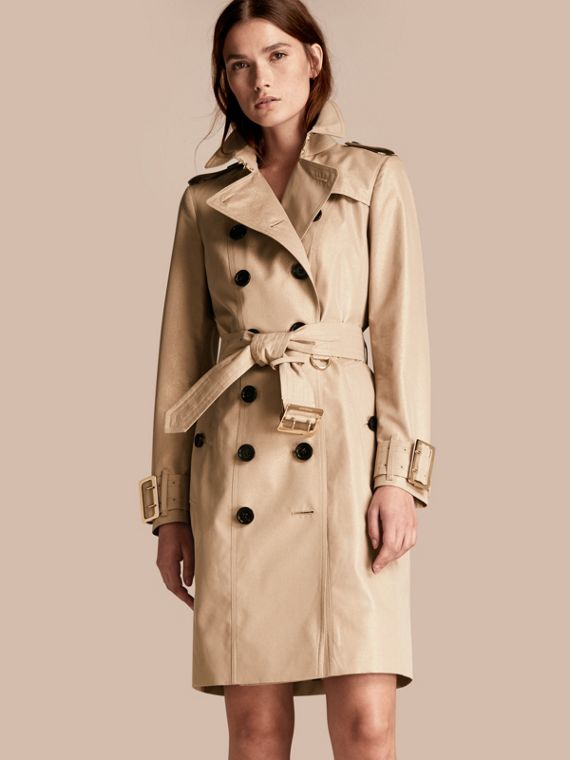 Metallic Cotton Gabardine Trench Coat with Oversize Buckle Detail