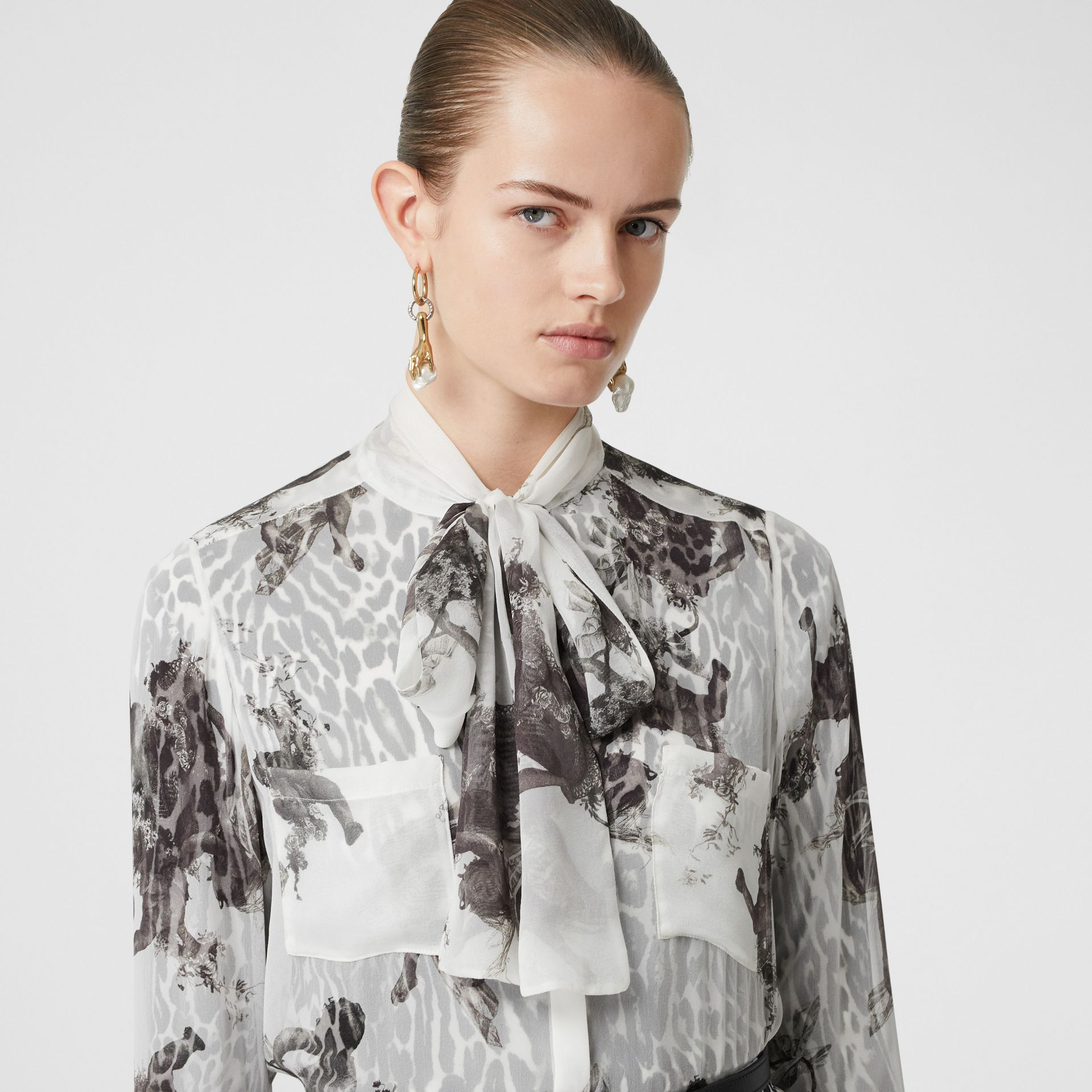 Angel Print Silk Chiffon Pussy-bow Blouse in Black - Women | Burberry United Kingdom - gallery image 1