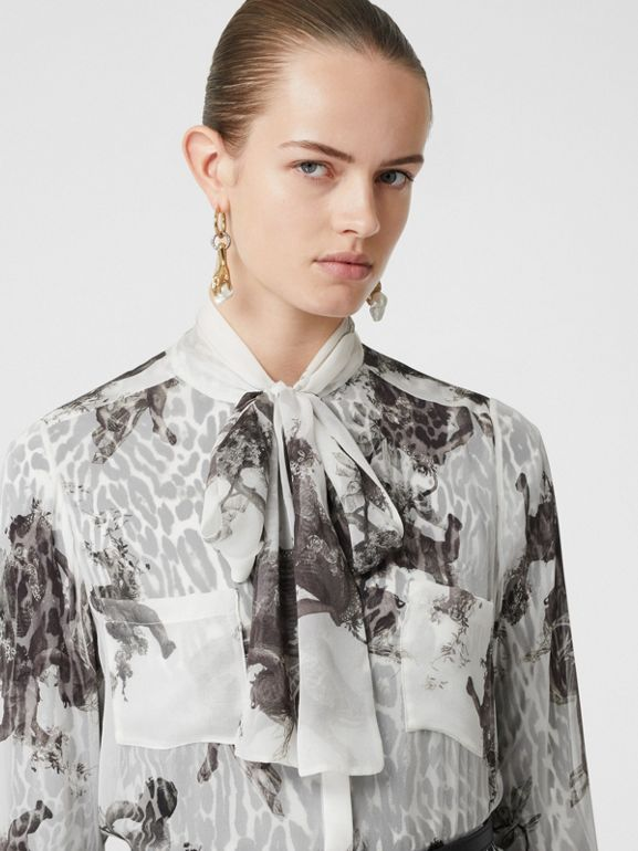 Angel Print Silk Chiffon Pussy-bow Blouse in Black - Women | Burberry United Kingdom - cell image 1