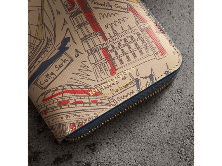 London Print Leather Ziparound Wallet in Multicolour - Men | Burberry United Kingdom - cell image 1