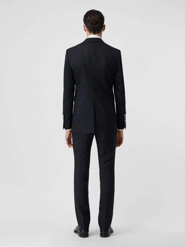 English Fit Triple Stud Pinstriped Wool Tailored Jacket in Black - Men | Burberry Canada - cell image 2