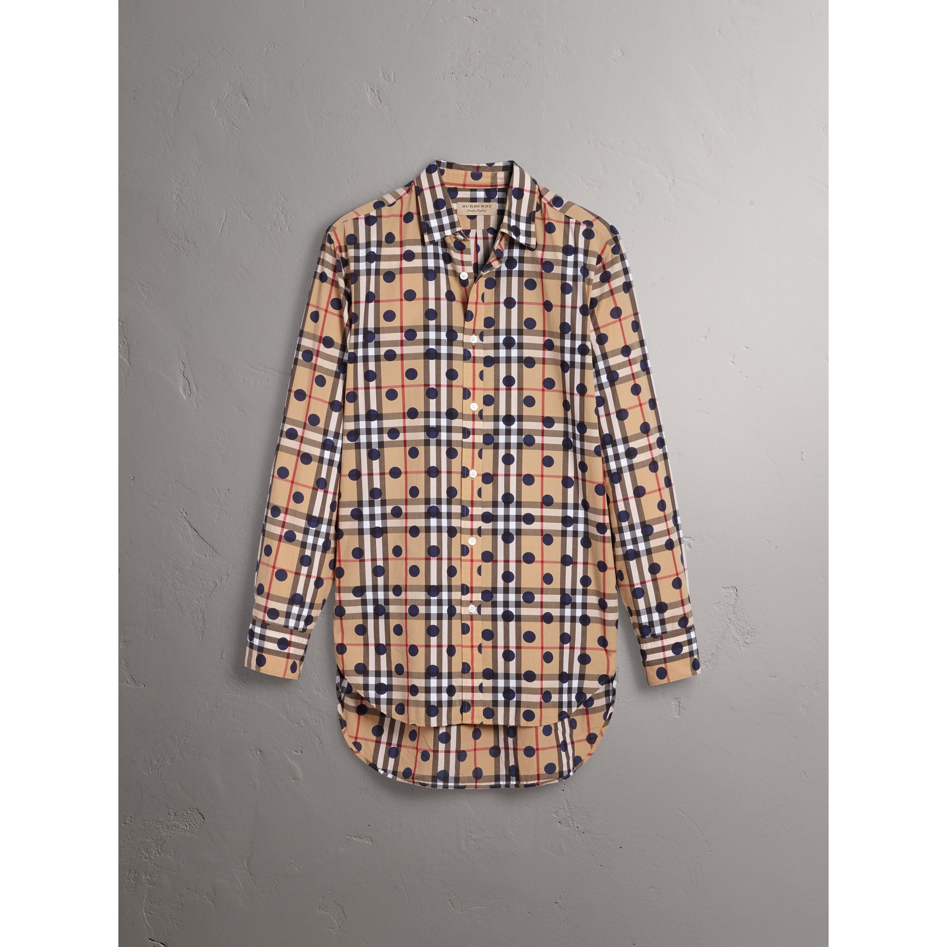 Spot Print Check Cotton Shirt in Navy - Men | Burberry - gallery image 3