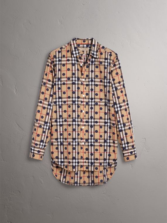 Spot Print Check Cotton Shirt in Navy