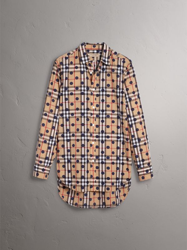 Spot Print Check Cotton Shirt in Navy - Men | Burberry - cell image 3