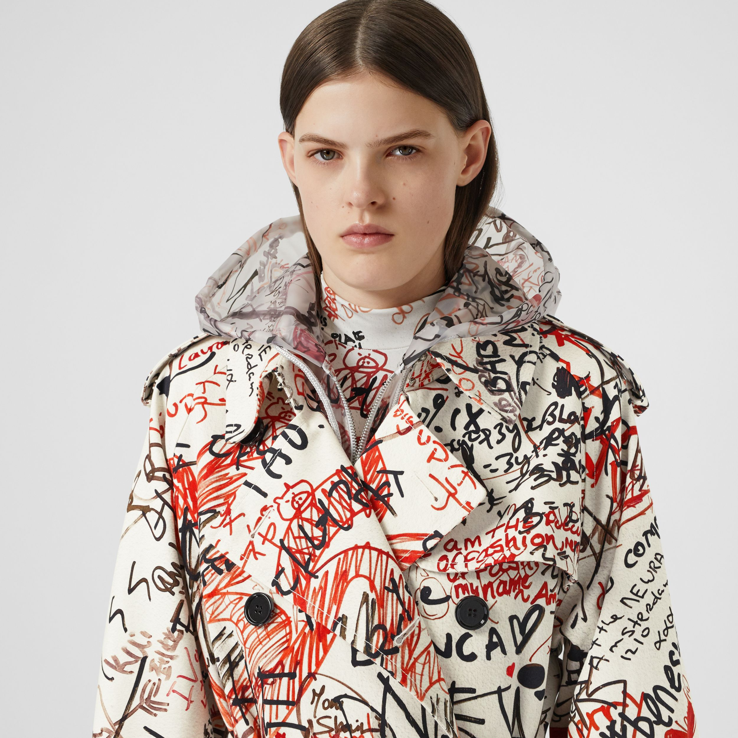 Graffiti Print Cotton Gabardine Trench Coat in Black - Women | Burberry - 2