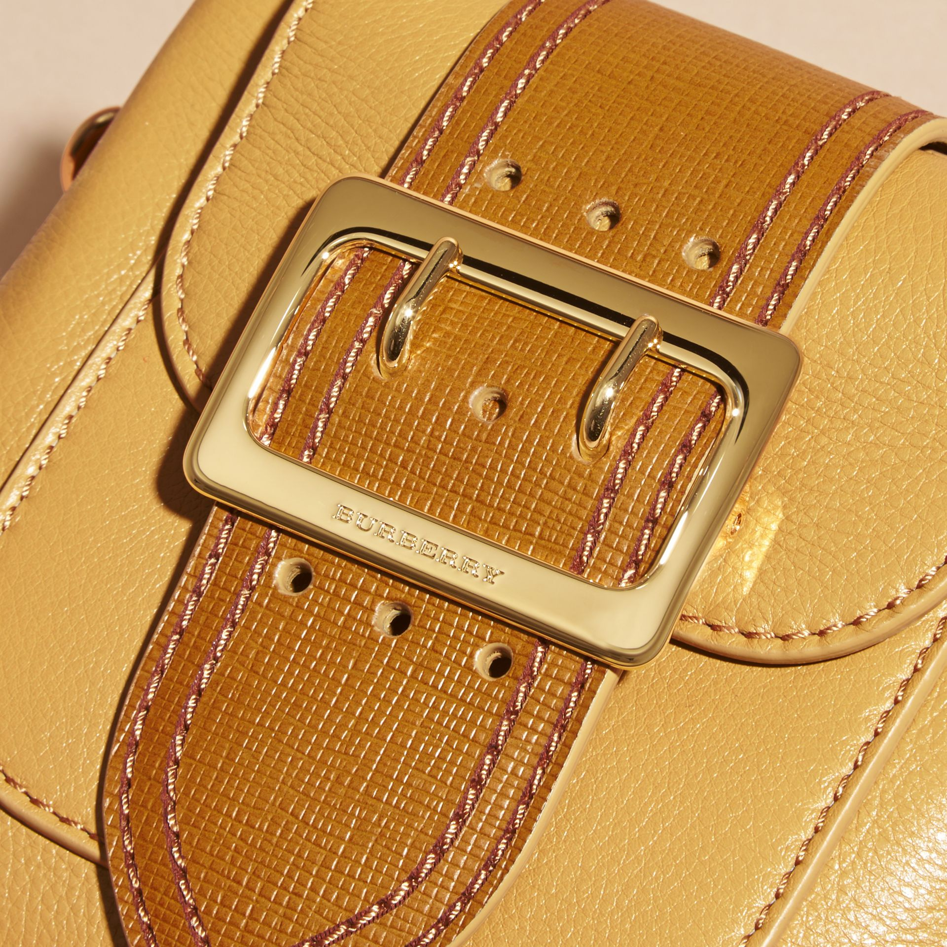 Ochre yellow The Small Square Buckle Bag in Leather - gallery image 2