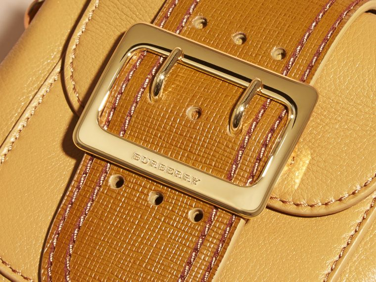 Ochre yellow The Small Square Buckle Bag in Leather - cell image 1