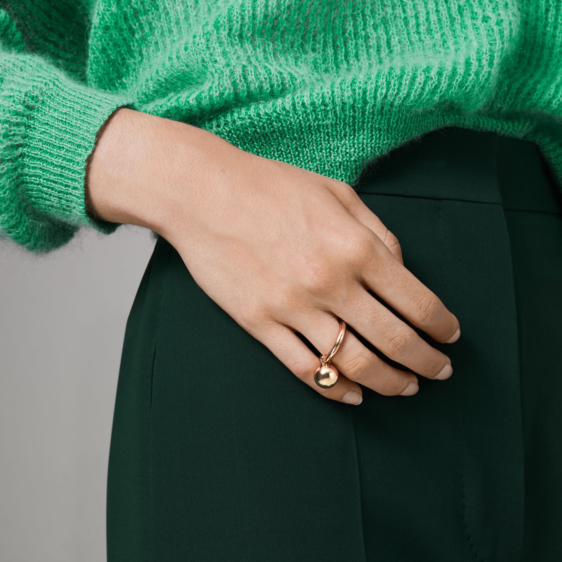 Charm Gold-plated Ring in Light - Women | Burberry Australia - gallery image 2