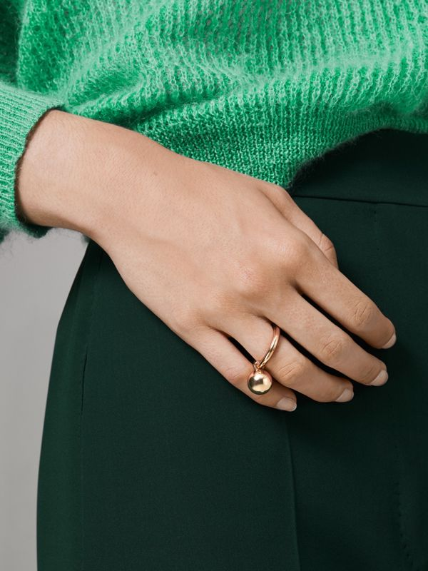 Charm Gold-plated Ring in Light - Women | Burberry United Kingdom - cell image 2