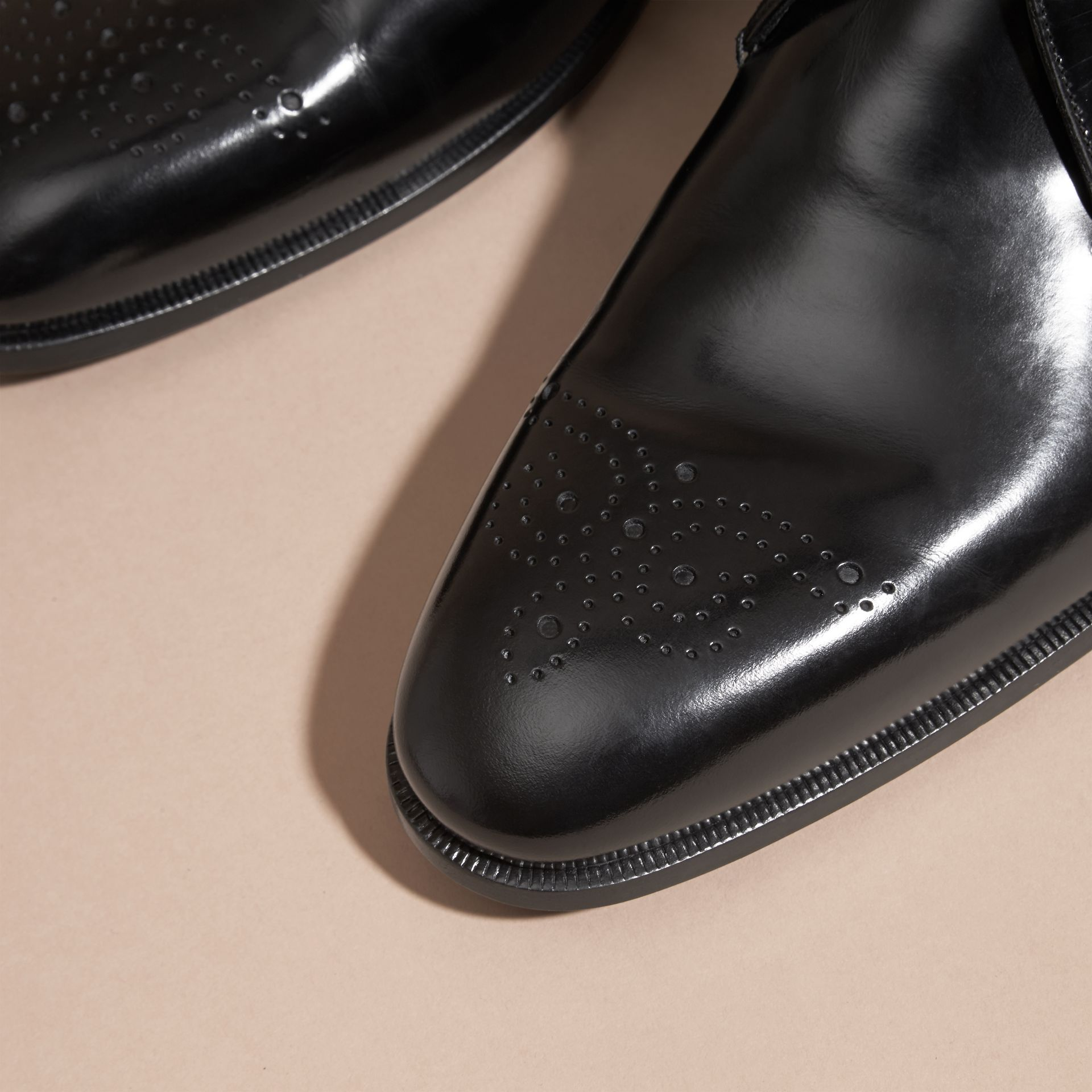 Black Perforated Detail Leather Derby Shoes - gallery image 2