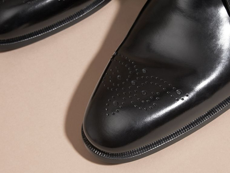 Perforated Detail Leather Derby Shoes - cell image 1