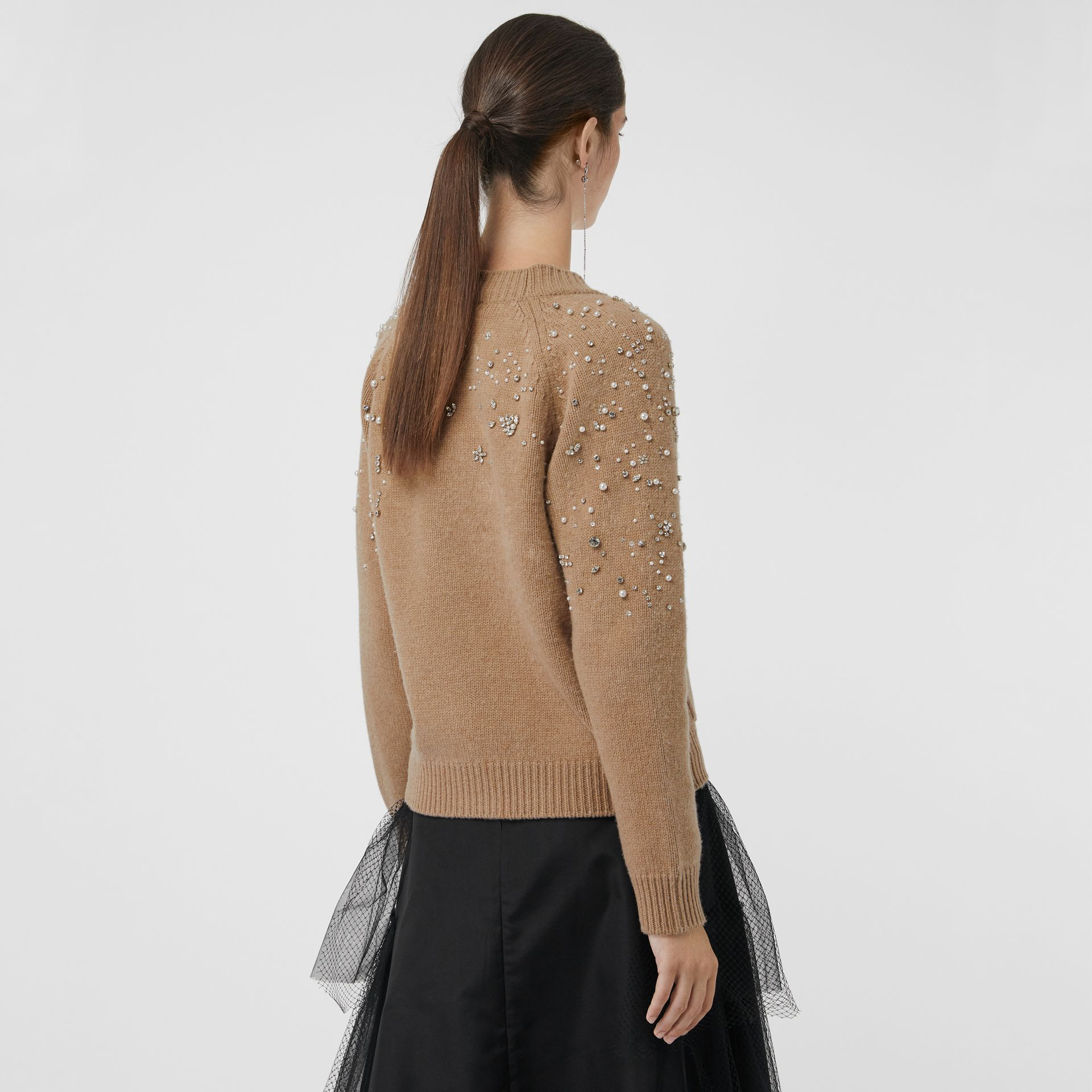 Crystal-embellished Merino Wool Cardigan in Camel - Women | Burberry - gallery image 2