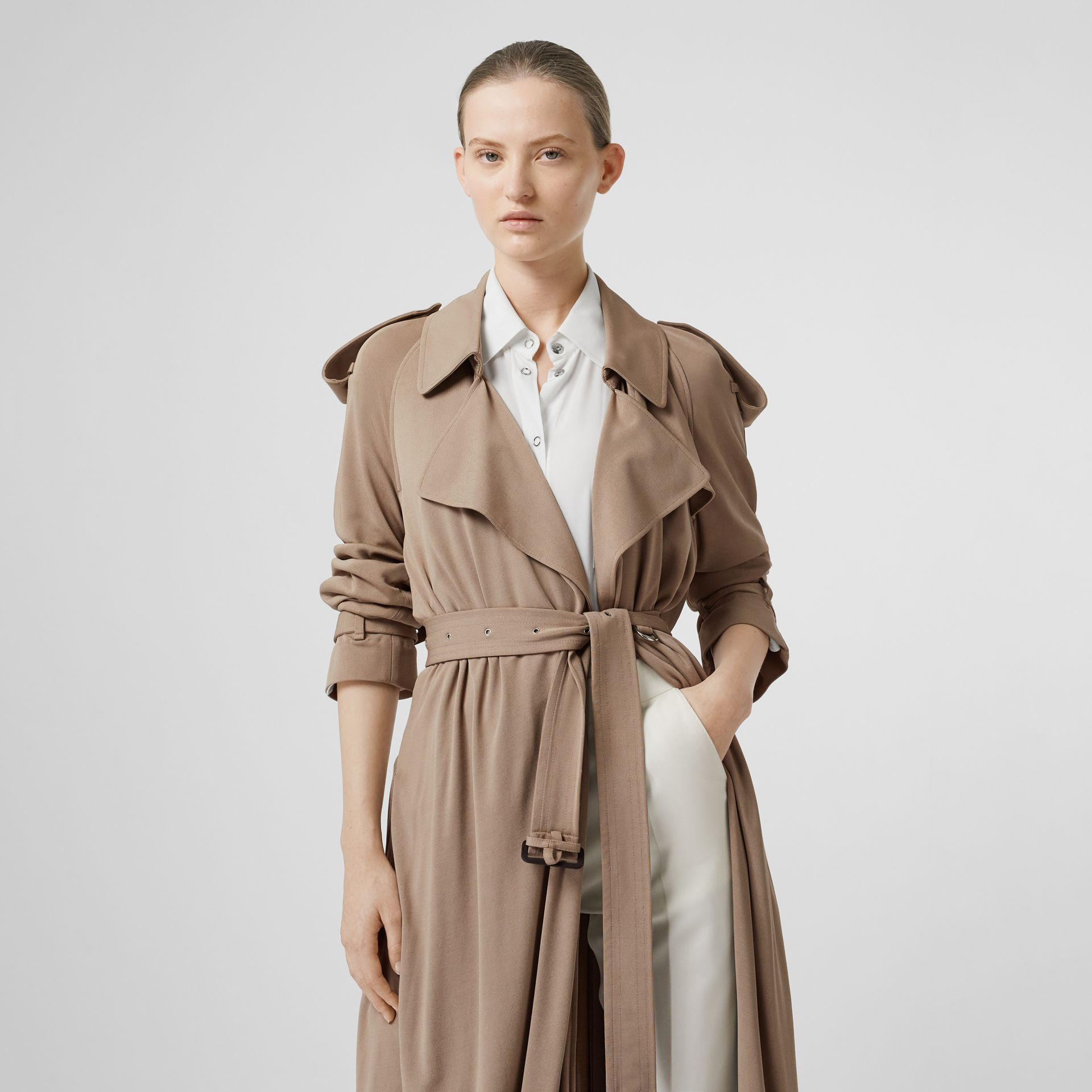 Jersey Wrap Coat in Warm Taupe - Women | Burberry - gallery image 4