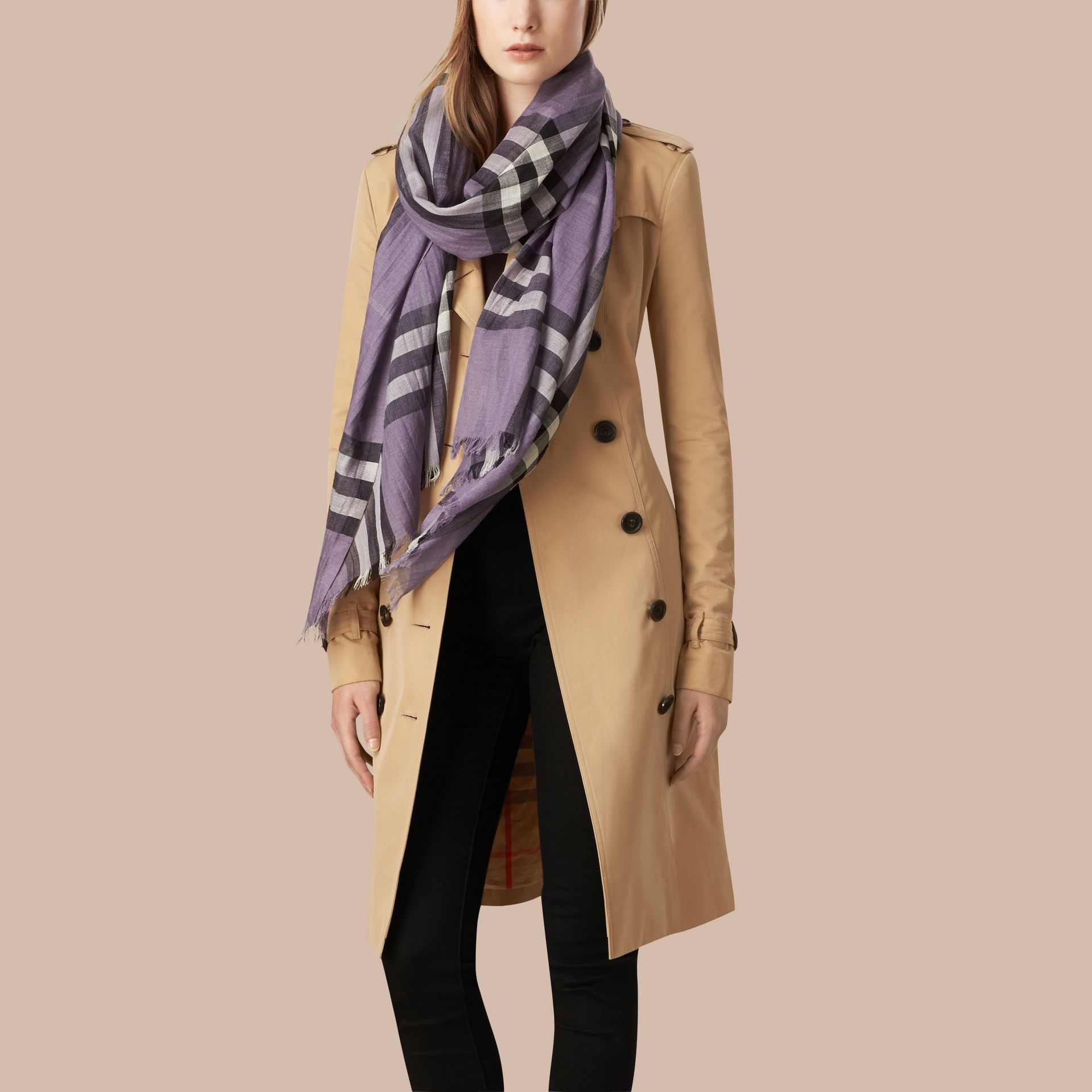 Lilac Lightweight Check Wool and Silk Scarf Lilac - gallery image 3
