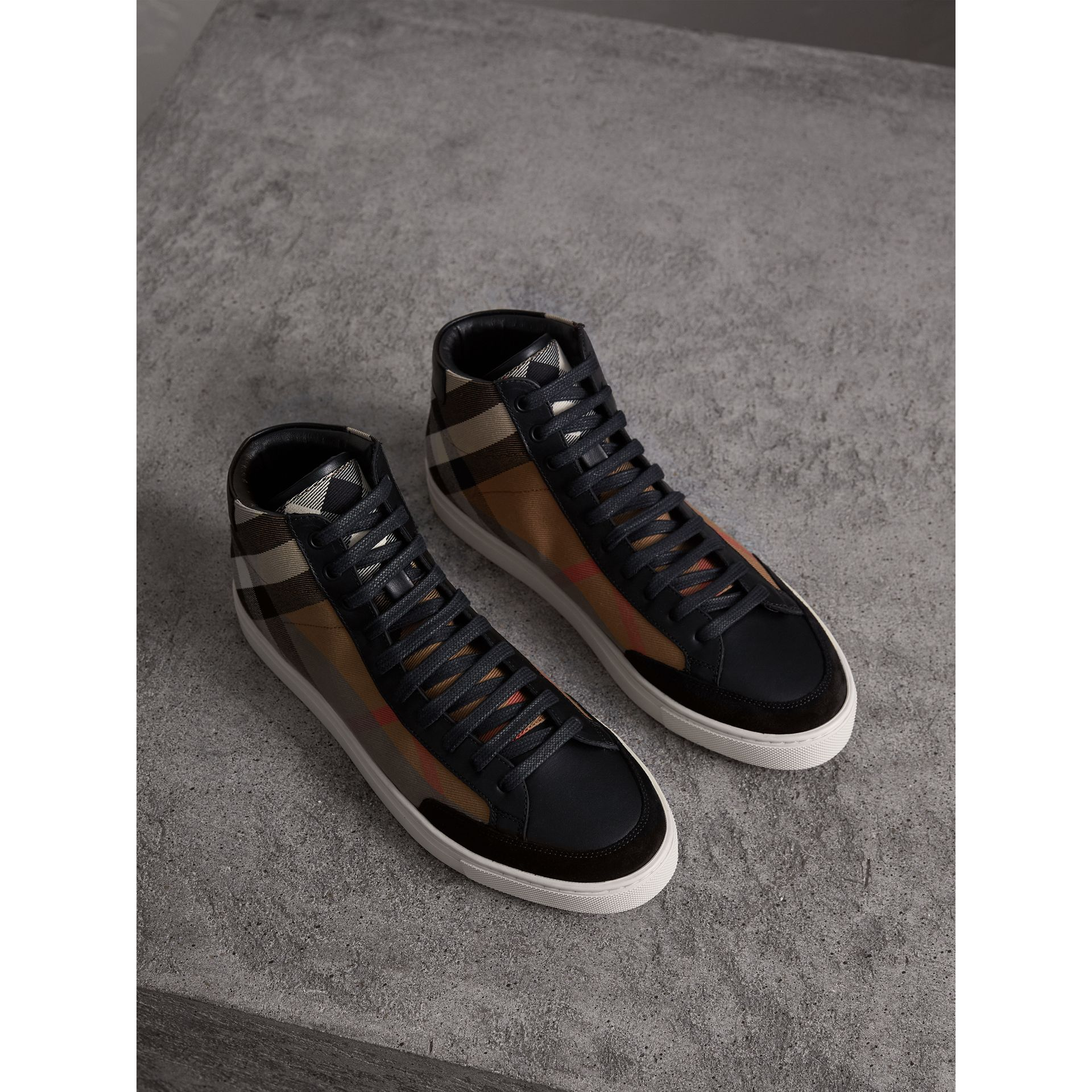 House Check Cotton and Leather High-top Trainers in Black - Men | Burberry - gallery image 1