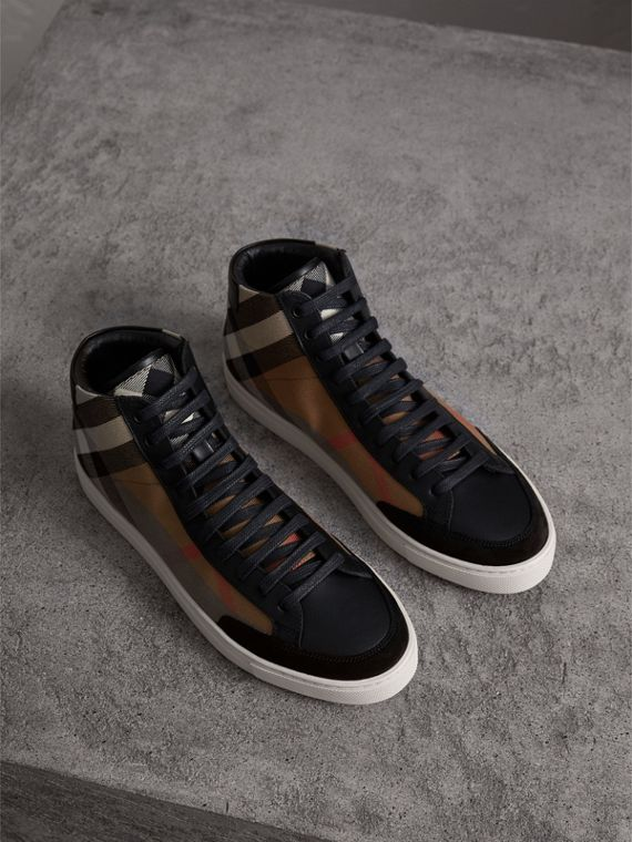 House Check Cotton and Leather High-top Trainers in Black
