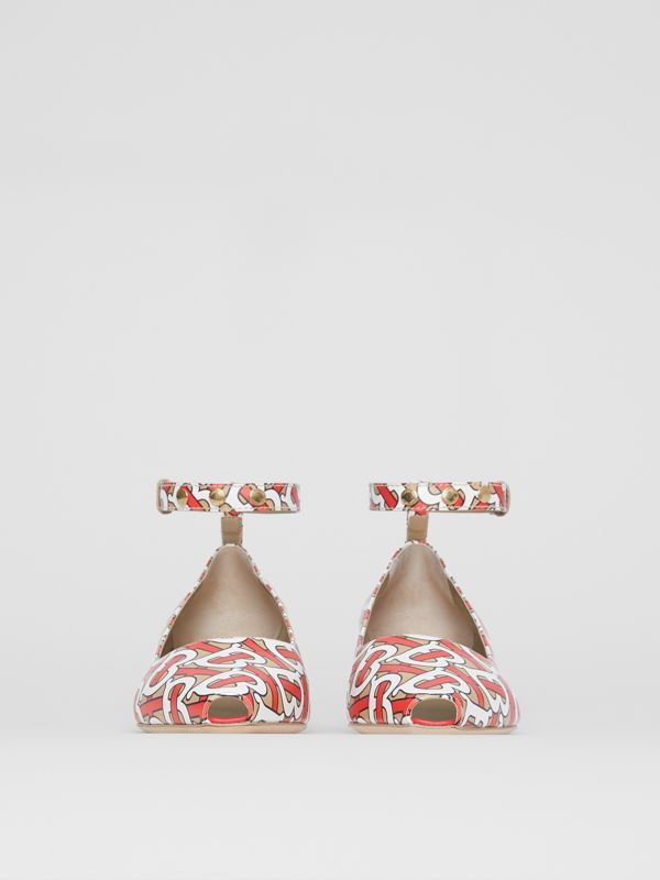 Monogram Print Leather Peep-toe Kitten-heel Pumps in Tawny - Women | Burberry - cell image 3