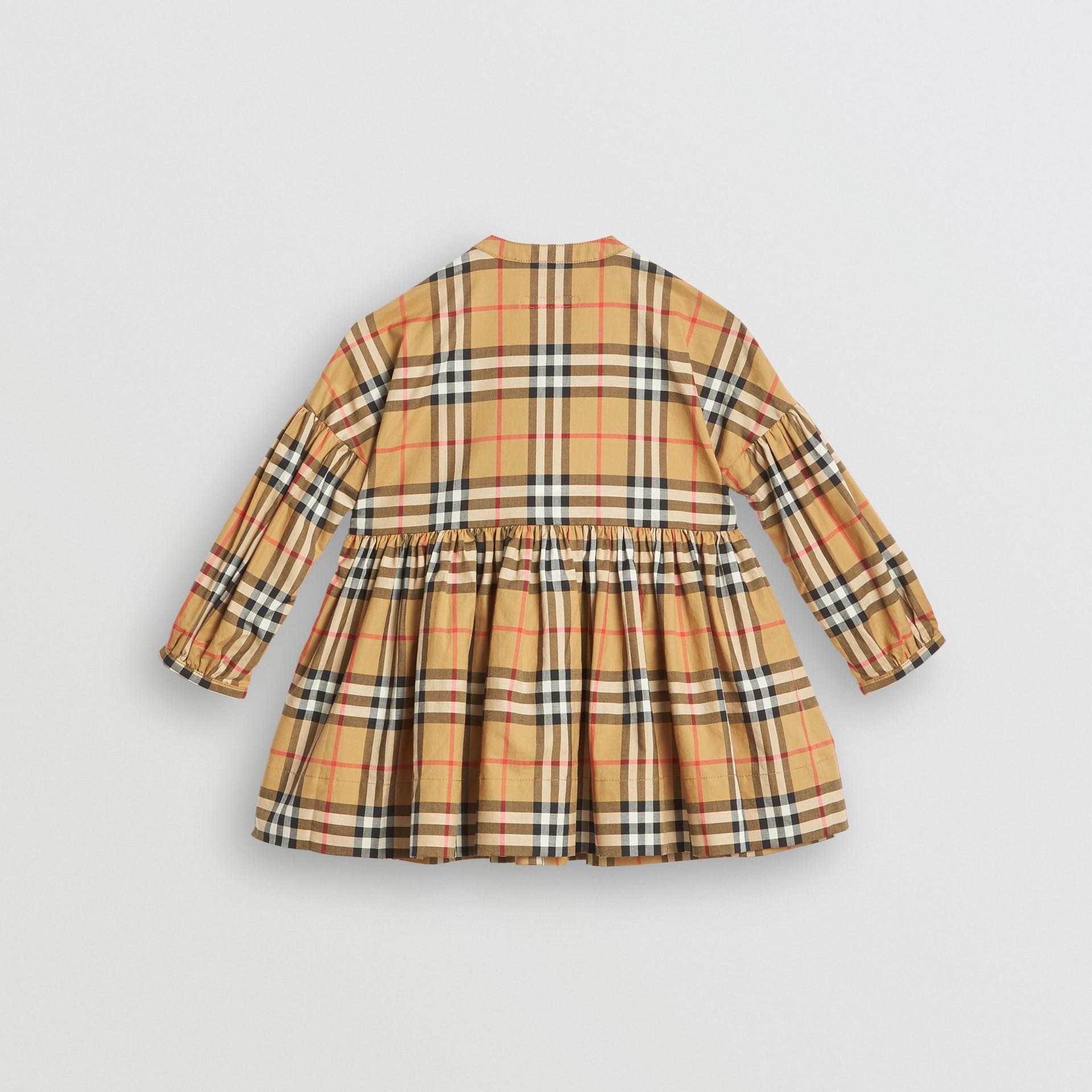 Vestido de algodão em Vintage Check com mangas franzidas (Amarelo Antigo) | Burberry - galeria de imagens 3