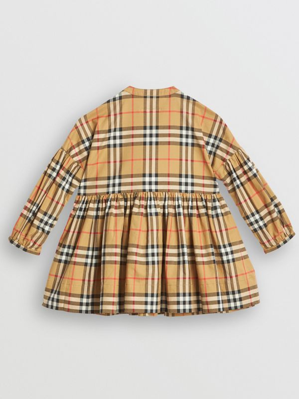 Gathered Sleeve Vintage Check Cotton Dress in Antique Yellow | Burberry - cell image 3
