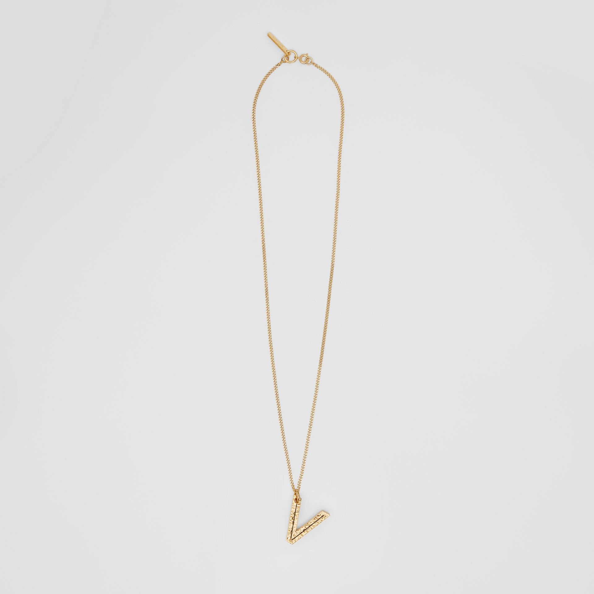 'V' Alphabet Charm Gold-plated Necklace in Light - Women | Burberry United Kingdom - gallery image 0