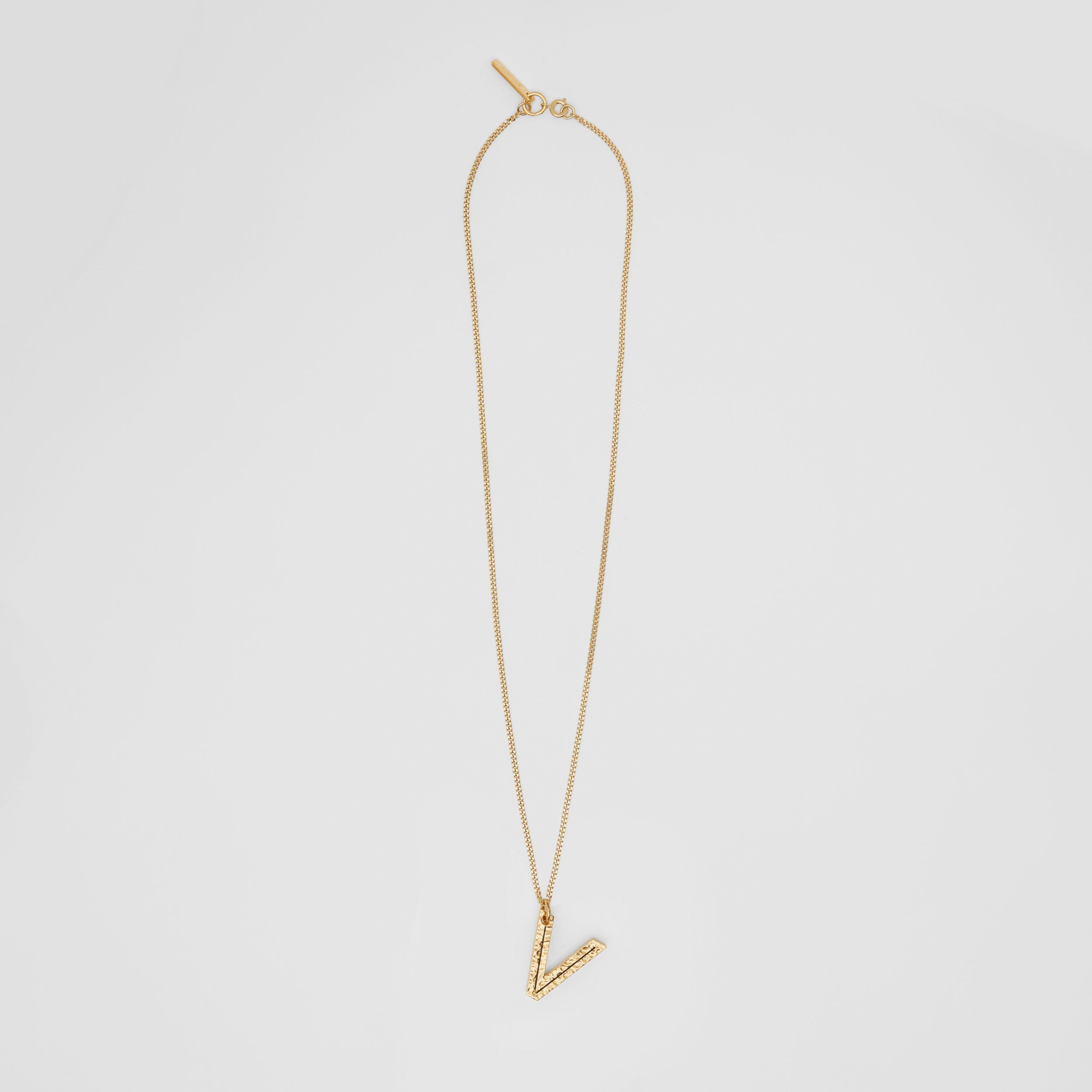 'V' Alphabet Charm Gold-plated Necklace in Light - Women | Burberry - 1