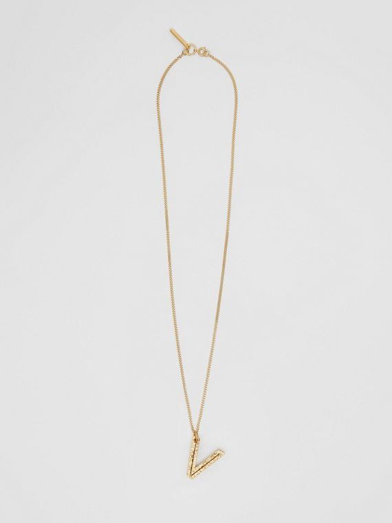 'V' Alphabet Charm Gold-plated Necklace in Light