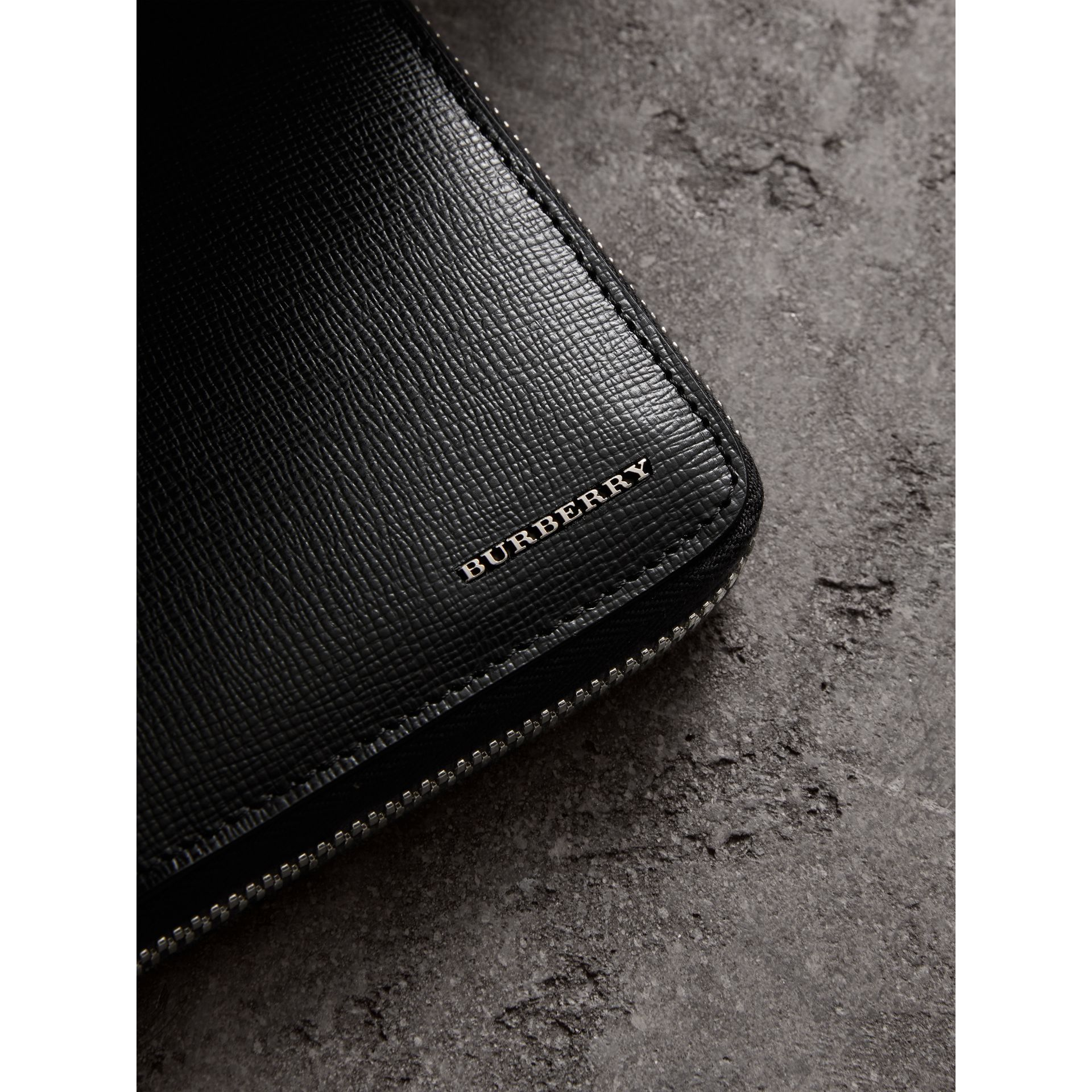 London Leather Ziparound Wallet in Black | Burberry - gallery image 1