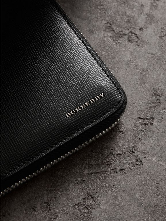 London Leather Ziparound Wallet in Black | Burberry Australia - cell image 1