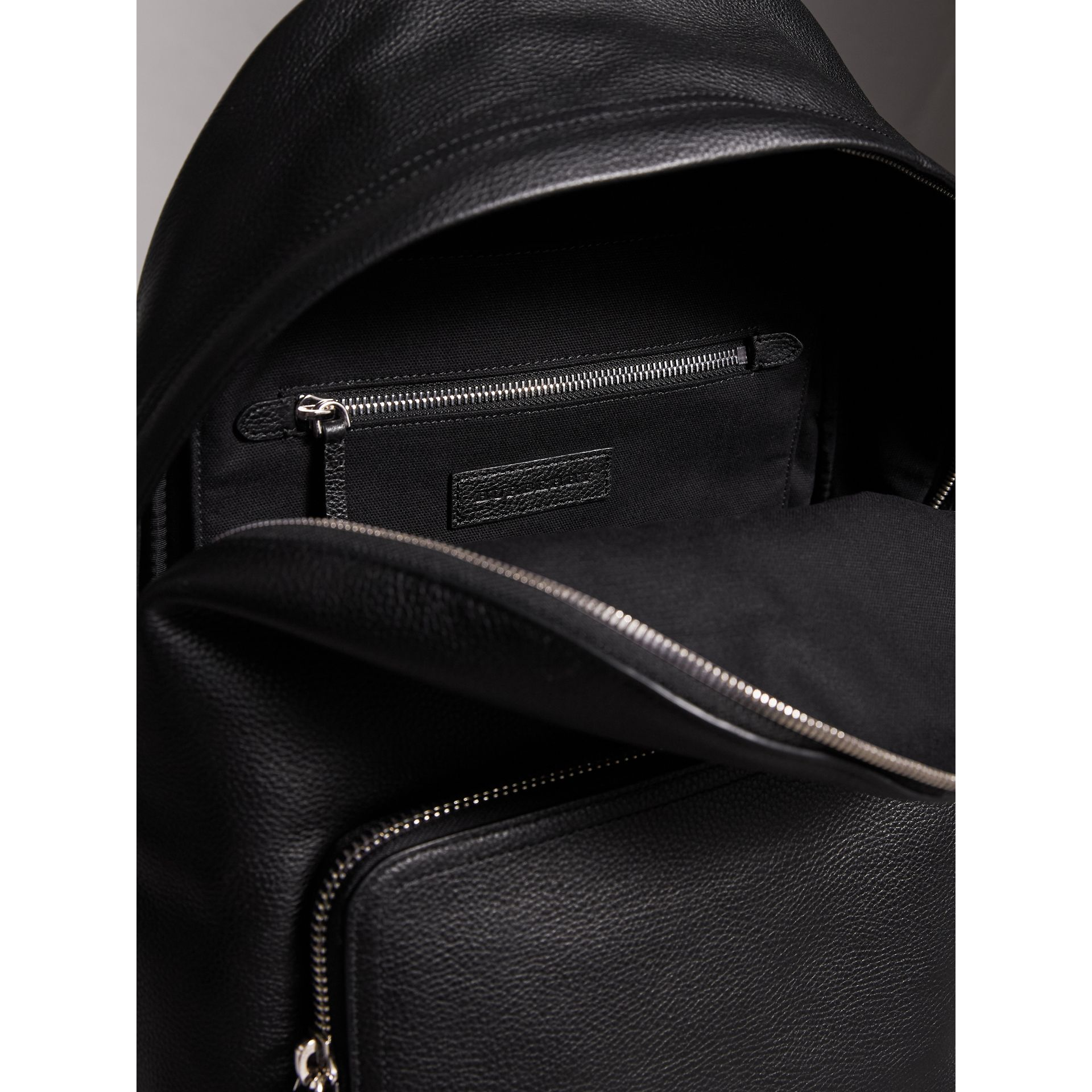 Grainy Leather Backpack in Black - Men | Burberry - gallery image 4