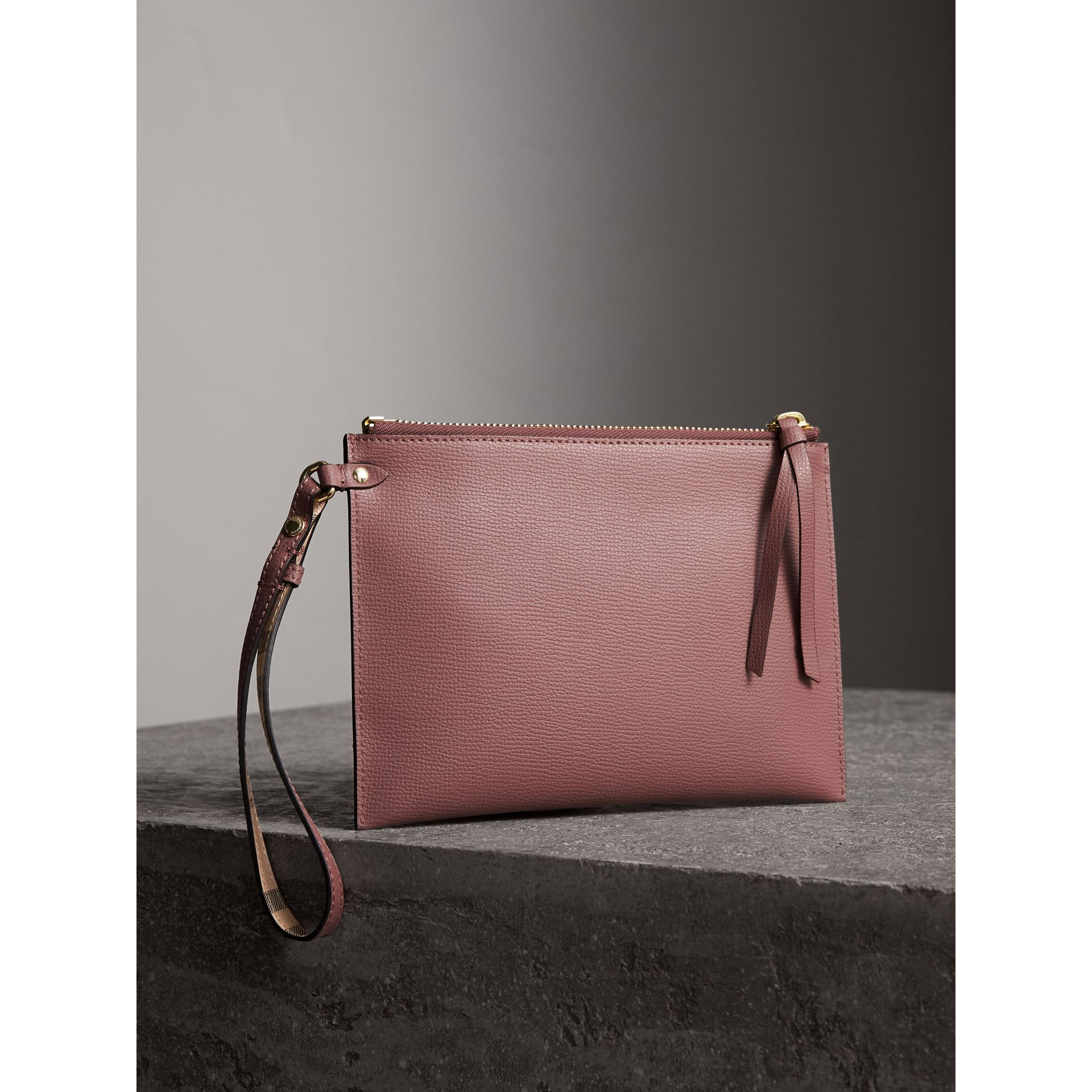 Haymarket Check and Leather Pouch in Light Elderberry - Women | Burberry - gallery image 4