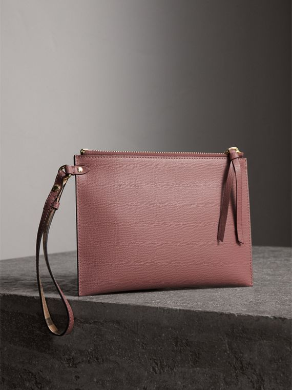 Haymarket Check and Leather Pouch in Light Elderberry - Women | Burberry - cell image 3