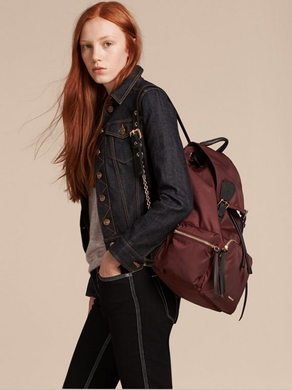 Burgundy red The Large Rucksack in Technical Nylon and Leather Burgundy Red - cell image 2